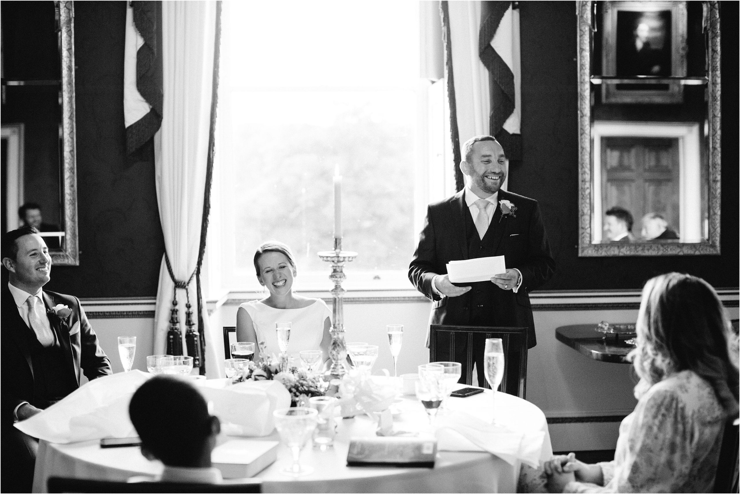 speeches in dining room at Ugbrooke House wedding venue