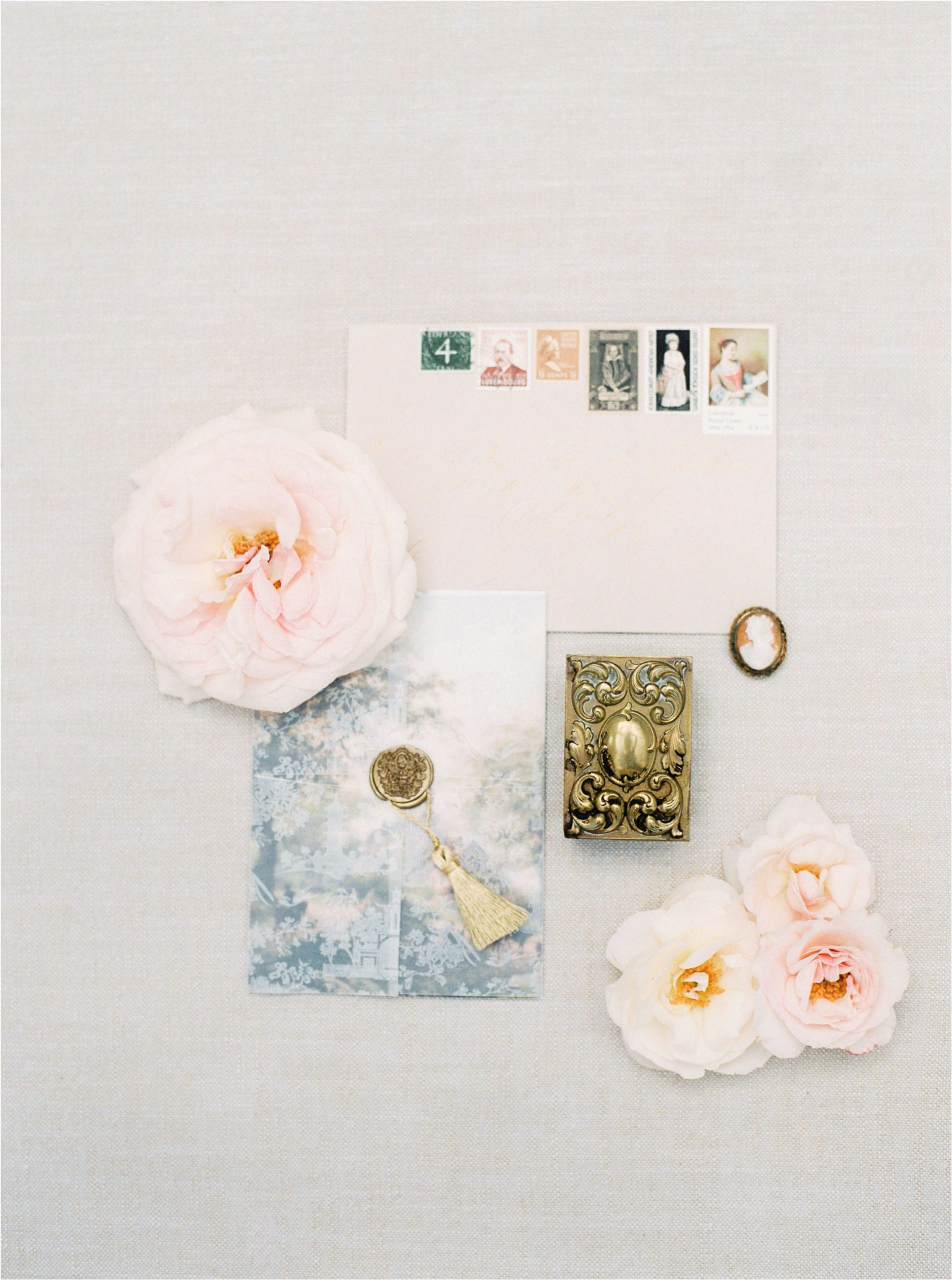 stationery flat lay at Came House wedding