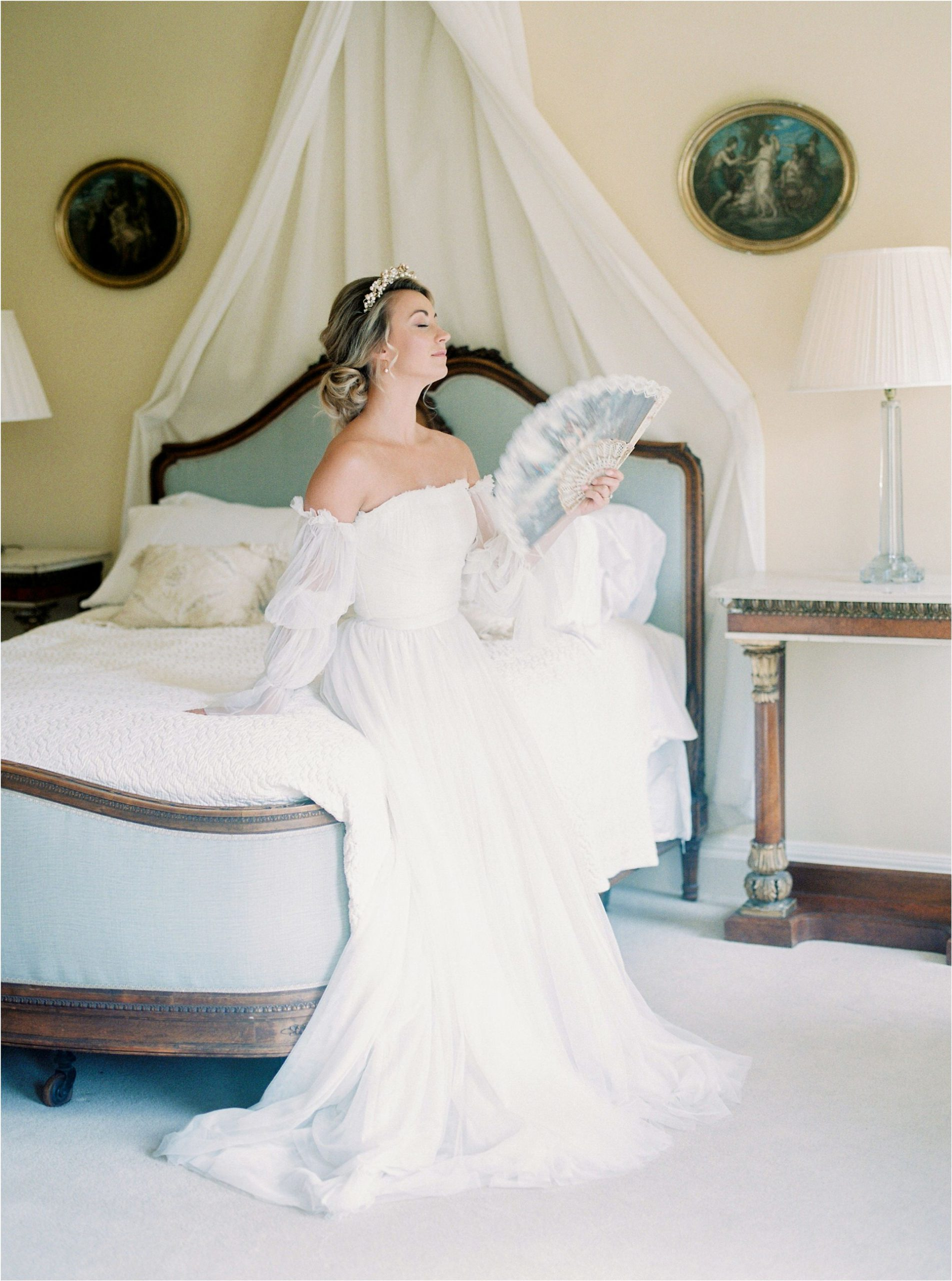 bride in rococo style wedding dress at Came House