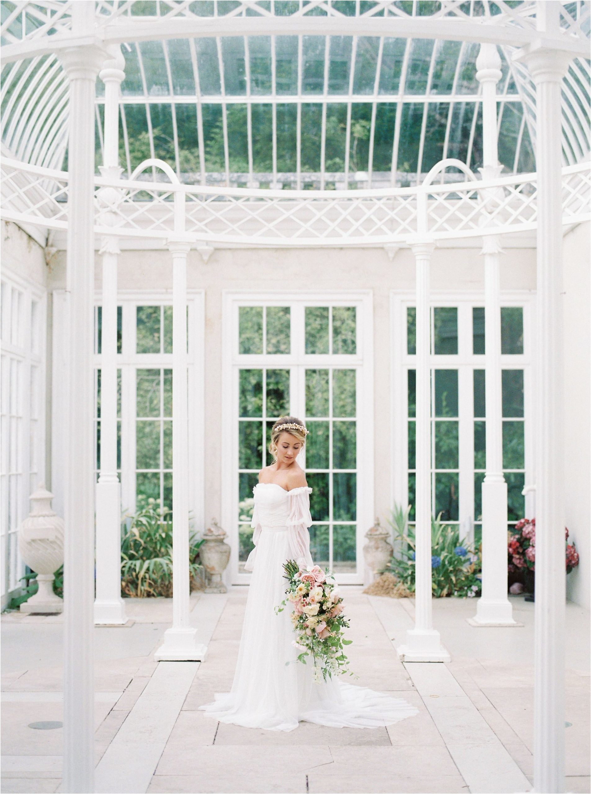 bride in conservatory at Came House wedding