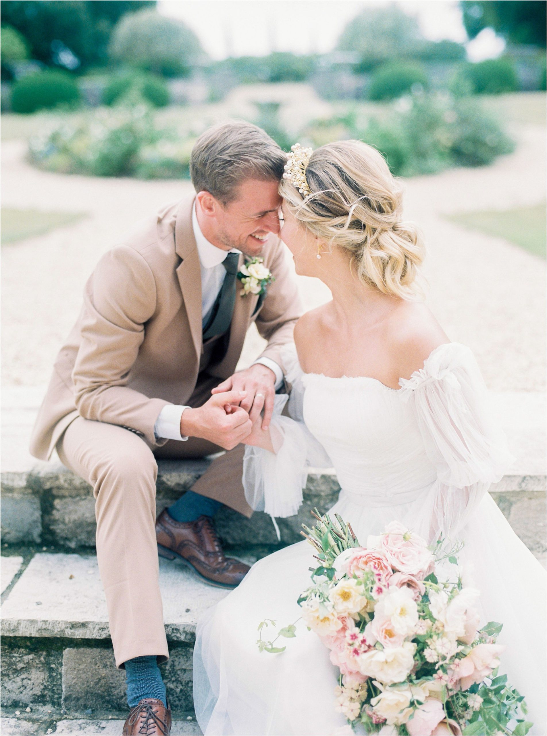 bride and groom on steps at Came House wedding