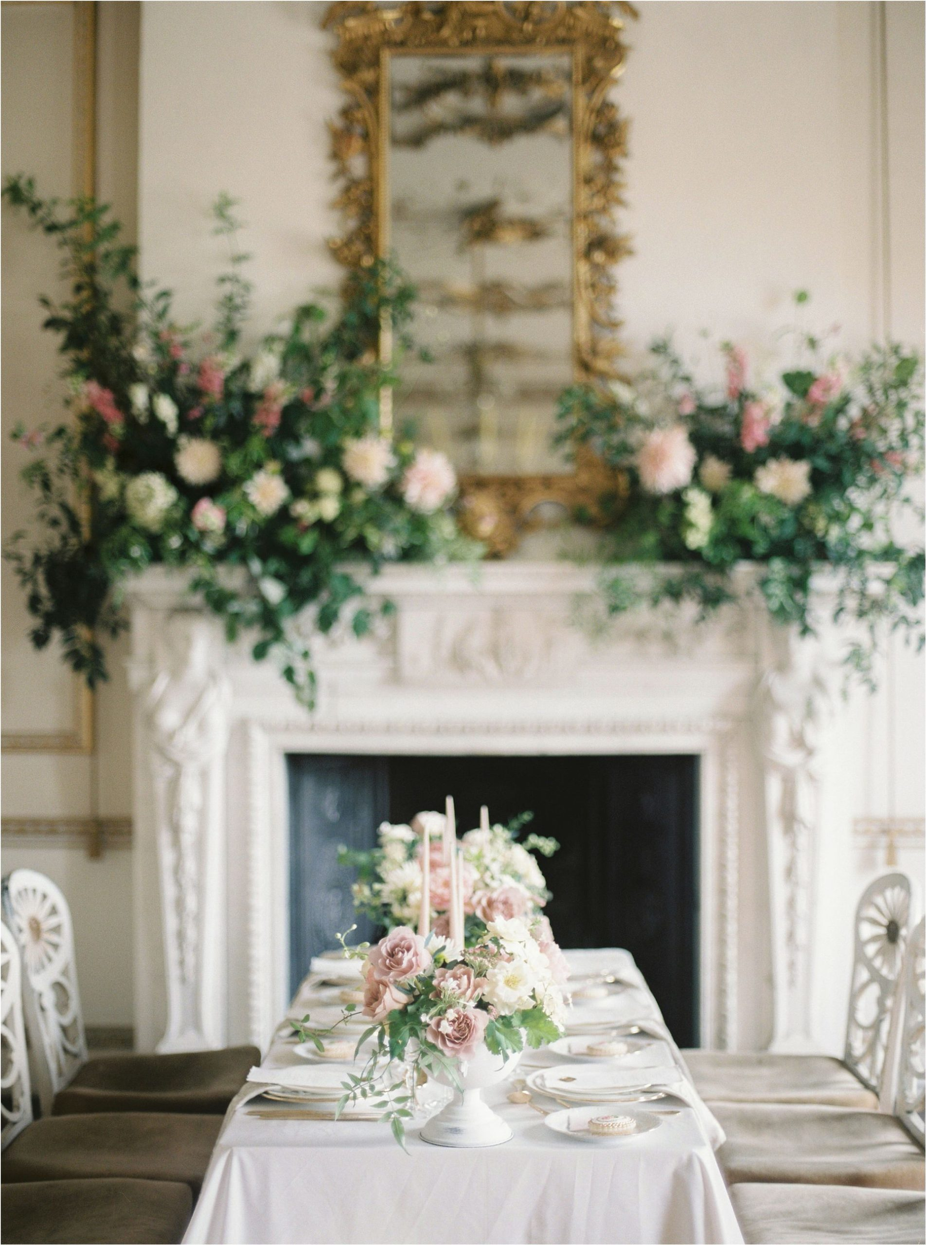 table set with for wedding breakfast at Came House wedding